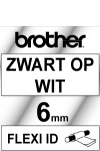 Brother TZ-FX111 Flexi ID tape zwart op transparant 6 mm (origineel)