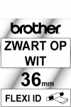 Brother TZ-FX161 Flexi ID tape zwart op transparant 36 mm (origineel) TZ-FX161 080810