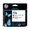 HP 774 (P2V97A) printkop mat zwart en chromatic red (origineel) P2V97A 055354
