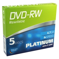 Platinum DVD-RW rewritable 5 stuks in jewel case 102570 090312